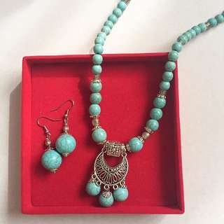 aqua stone ethnik necklace set (kalung+anting)