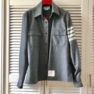 Thom Browne Oversized Wool Grey Shirt Jacket Size 2