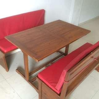 Meja jati with booth kualitas satu bisa Nego