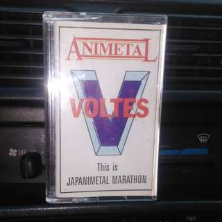 Vintage casete tape of voltes v theme song and other vintage robot theme song