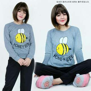 Piyama Grey Bee Set 2in1  Atasan bahan spandek + celana spandek printed fit L