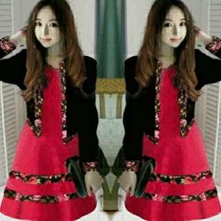 Red Flow Luna Dress Set 2in1  dress spandek + cardi twiscone kombinasi flow fit to L