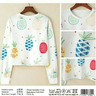 White Pinea Fruit Crop Swater  BAHAN BABYTERRY FULL PRINT . FIT TO L 92CM . PB 53CM