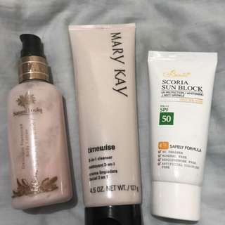 Body lotion,face cleanser,sunblock