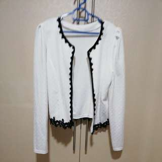 White cardigan with black lace