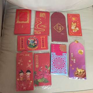 All for $10 - BN sealed 2018 assorted red packet/ang pao  (Parkway parade, capitaland, uniqlo, tokyu hands, health promotion, DBS treasure, CIMB, Barclays, Singtel TV)