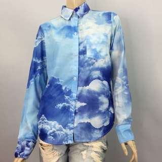 Cloud Galaxy Blue Shirt T-shirt Top