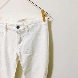丨降🔻uniqlo 純白棉質彈性顯瘦長褲丨#旺旺一路發