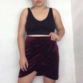 Forever 21 Maroon Velvet Skirt