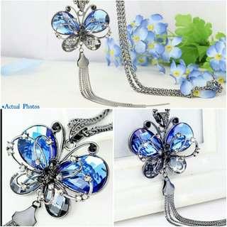 -Yunik- Butterfly Long Sweater Chain Necklace In Blue/Silver