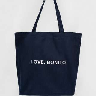 Navy Love Bonito LB Canvas Tote Bag