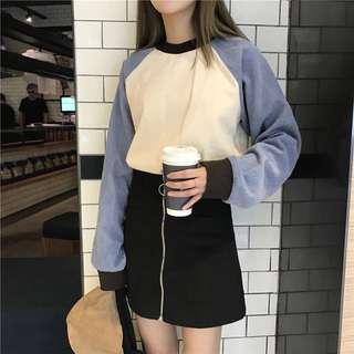 ulzzang triple coloured raglan pullover top