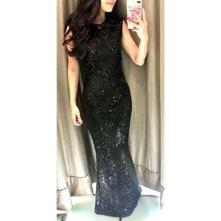 (Rental) Black Evening Sequin Gown