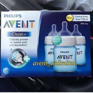 4oz AVENT BLUE  CLASSIC + FEEDING BOTTLES 3pcs/box - P1000