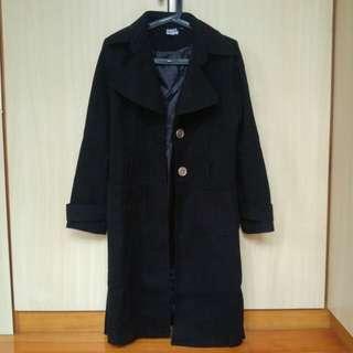 黑色毛呢長版綁帶大衣外套