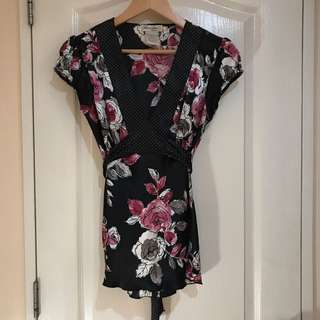 Lots of Love by Speechless Floral Black Top with Ribbon Belt