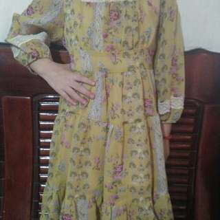 Yellow Floral Dress for Kids