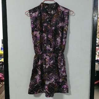 BN Kisslocke Unique Modern Collared Sleeveless Dress in Purple