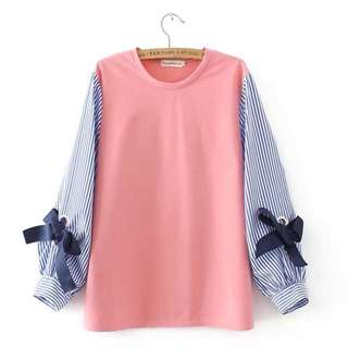 (XL~4XL) Loose spring Korean version of the loose tie lantern sleeve sweater