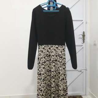 Black ribbon dress w Beige design(Nego)