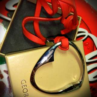 Georg Jensen Heart  + Red Leather Key Ring.