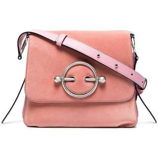 代購JW ANDERSON Pink Disc suede and leather cross body bag