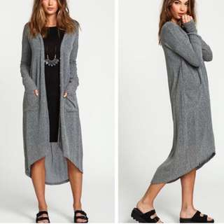 Grey knitted outerwear