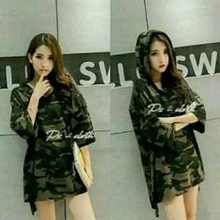 Baju Hoodie army wanita