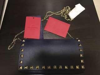 全新正品Valentino藍色鍋釘袋
