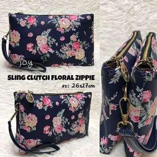 Sling clutch floral