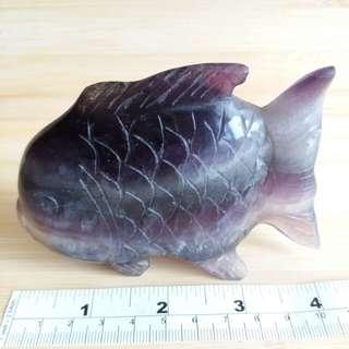 四吋螢石神仙魚擺件