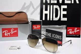 Authentic Ray Ban Aviator Gunmetal RB3025 004/51 58MM Gradient Brown.