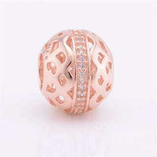 Code SS216 - Hollow Rose Gold Bead Openwork 100% 925 Sterling Silver Charm, Chain Is Not Included, Compatible With Pandora