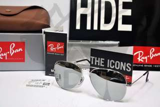 Rayban Aviator Polarized RB3025 W3277 Silver Flash Mirror.