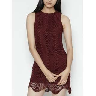 Frontrow by Klarra Wave Dress in Burgundy