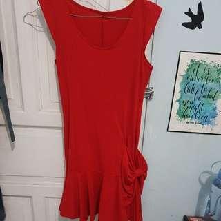 Dress mini merah all size