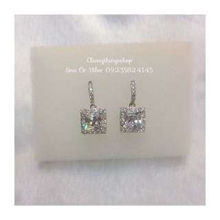 Princess Cut Diamond Drop Earrings
