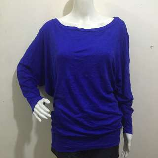 MICHAEL STARS blue plain plus size batwing sleeves ladies women blouse xl