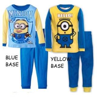 Minions Brand new cotton material 1-5 Years Old Minions Despicable Me Pajamas Cotton Material Kids Wear Fashion Long Sleeve Shirt And Long Pants Shorts Got Baby Size Also Toddler Children Kids