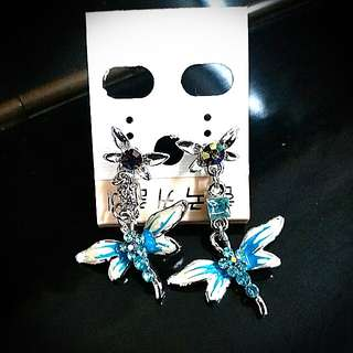韓國藍色蜻蜓耳環 Korea blue Dragonfly Ear Rings