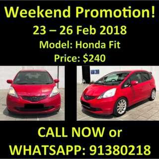 23-26 Feb Weekend Promo $240 Honda Fit