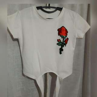 White Crop Top W/ Floral Patches