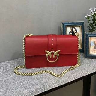 Pinko Leather Shoulder Chain Bag Red Colour