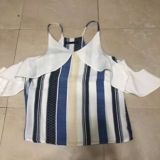 Spaghetti top with offshoulder design