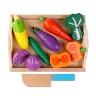 ⚡SPECIAL OFFER⚡BN Wooden Magnetic Cutting Foods Vegetables Play Set w/Serving Tray