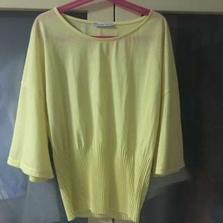 Zara yellow flare sleeve top