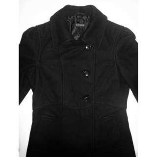 QYOP VERSACE Womens Black Wool Blend Coat - Size XS / S