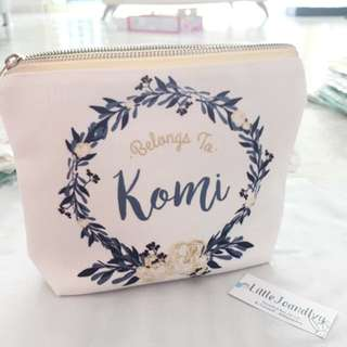 Personalised canvas pouch / flower09