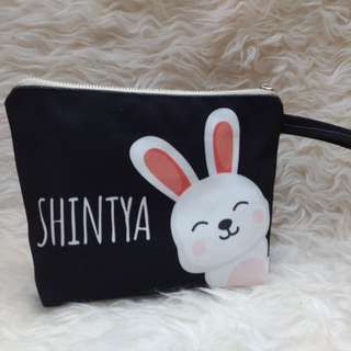 Personalised canvas pouch bag // bunny02