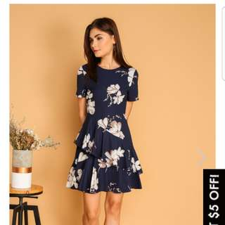 The Stage Walk XL Nora Double Tier Ruffle Hem Dress